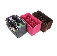 Wholesale cloth storage organizer for sale - Group buy Felt Cloth Insert Bag Organizer Makeup Handbag Storage Organizer Multi functional Travel Insert Handbag Portable Cosmetic Bags RRA1957