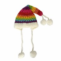 Wholesale long tailed crochet hat resale online - rainbow Patchwork hairy bell hat winter Christmas Thickening Children Hat Crochet Women Long Tail Knit Hat czapka zimowa