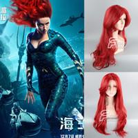 pelucas grandes de onda profunda al por mayor-Justice League Sea King Princess Gila Sea Deep red big wave pelo largo y rizado cos peluca