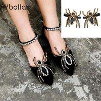 süs sandalları toptan satış-1 Çift Kristal Örümcek Ayakkabı Dekorasyon Sandalet Yüksek Topuklu Ayakkabı DIY Elastik Rhinstones Düz Ayakkabı Süsleme Parti Takı