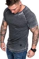 ingrosso drappeggio tees-Magliette a maniche lunghe in tinta unita a maniche corte T-shirt con scollo tinta unita da uomo