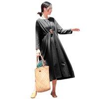 vestido de linho de uma peça venda por atacado-Mulheres do vintage outono dress bolsos de emenda em torno do pescoço de linho de algodão estilo coreano dress manga comprida solta one piece kpop