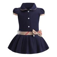 çocuklar için kısa yazlık elbiseler toptan satış-Yeni Varış Yaz Kızlar Zarif Elbise Kısa Kollu Kısın Yaka Tasarım yüksek kalite pamuk bebek çocuk Giyim elbise