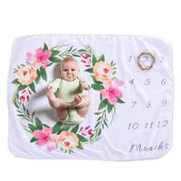 ingrosso coperta neonato flanella-Flanella Fleece Sublimazione Blank Milestone Baby Blanket Baby Take Pics Coperta mese per i neonati 2019