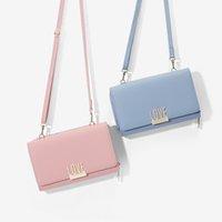 bolsas de tela coreana al por mayor-Cartera de carta de color sólido de moda, diseño coreano, tela de cuero de PU, bolsa cuadrada pequeña, cartera femenina de cara suave