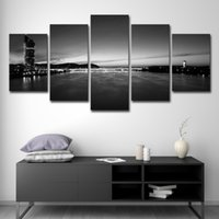 Wholesale city painting black white for sale - Group buy Canvas Poster Wall Art Living Room Prints Home Decor Pieces Black White River Cityscape Painting City Building Pictures