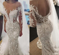 Wholesale beaded lace mermaid tiered wedding dress for sale - Group buy Exquisite D Lace Mermaid Wedding Dresses Beaded Appliques Sheer Neck Long Sleeve Robe de mariée sirène Bridal Gowns Custom Made Luzxury