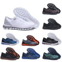 vendiendo tejido al por mayor-De calidad superior de los zapatos corrientes Gel-Quantum 360 zapatos para hombre Tejidos Vamp negro blanco rojo azul de las mujeres entrenadores deportivos zapatillas de deporte de la venta caliente