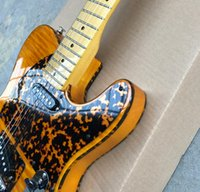 Wholesale flame maple electric guitar body resale online - Prince HS Anderson Hohner Madcat Mad Cat Amber Yellow Flame Maple Top Electric Guitar Leopard Pickguard Dual Red Turtle Binding
