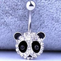 Wholesale navel accessories for sale - Group buy Panda leopards swan strawberries Navel Ring Surgical Steel Piercing crystal Belly Button Rings Crystal Neck Body Accessories