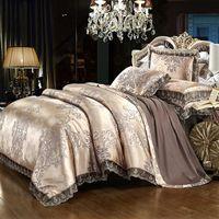 luxo cama king prata venda por atacado-Luxo rendas jacquard cama azul bege prata cor de ouro de cetim jogo de cama queen size king size 4/6 pcs capa de edredão lençol set41