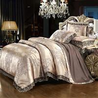 Wholesale burgundy jacquard bedding resale online - Luxury lace jacquard bedding blue beige silver gold color satin bedding set queen king size duvet cover bed sheet set41