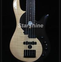 guitarra de cuerda superior al por mayor-Bajo eléctrico de 5 cuerdas Starshine CC5-YY Palisandro con tapa de arce flameado Mástil de arce Negro Herraje