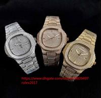 ingrosso orologio bracciale bling-Mens Modello Quattro stili Orologi Ronda Eta Orologio Full Pave Bling Diamond Bracelet Bezel 40mm Luxury Nautilus Movement Automatic Watches