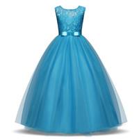 diseñador de ropa formal al por mayor-1 unids 2019 Niñas Vestido de Encaje 8 colores Ropa de diseñador para niños y bebés piso de Longitud Elegante Vestido de Fiesta Formal Fiesta de Baile Princesa Vestidos