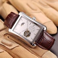 квадратные мужские часы механические оптовых-Новые мужские часы черный коричневый кожаный ремешок роскошные скелет часы автоматические механические движения квадратные наручные часы Montre De luxe