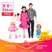 Wholesale little peoples toys for sale - Group buy Ucanaan New Toys Family People Dolls Suits Mom Dad Little Kelly Girl Son Baby Carriage Real Pregnant Doll Q190521