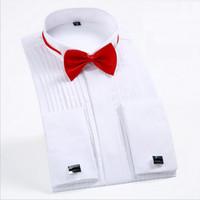 ingrosso cravatta formale dell'arco della camicia-Papillon liberi 2018 Moda bianco Tuxedo Camicie per uomo da sposa manica lunga casual camicia formale uomo Slim Fit da sposa uomo Top