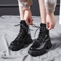 Wholesale black patent thick soled shoes for sale - Group buy Black Patent Leather Punk Boots Women Winter Shoes Thick Soled Platform Matrin Boots Fashion Non slip Ankle For Women