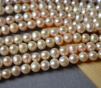 große rosa runde perlen groihandel-Potato pearl 8.5-9.5mm leather pearl Large hole beads Freshwater wholesale Loose pearls round pearl Pink Full Strand PL2465