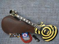 ingrosso chitarre zakk-Custom Shop Zakk Wylde bullseye Sparkle Gold Black EMG Pickup Chitarra elettrica Hardware dorato Placcato in oro