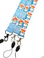 ingrosso cordicella chiave carina-Nuovo lotto 12 pz Cartoon Doraemon gatti blu carino Key Lanyard Badge ID Card Holders Cinghie con portachiavi Regali Bomboniere