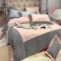 set de colcha rosa al por mayor-Hot Modern Chorlito cuadrícula lecho libre 100% algodón Textiles para el hogar rosado de la princesa estilo Bedsheet 1,8 m Coupe Cama cubierta del edredón