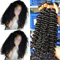 ingrosso capelli neri indiani profondi ondulati-Indiani Deep Wave 4 Bundles 400g Estensioni non trattate dei capelli umani, capelli neri bagnati e ondulati, nero naturale Spedizione gratuita