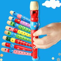 Wholesale flute toys resale online - Wooden Kid Short Flute Sound musical toy Early Education Develop Type Holes Recorder Woodwind Musical Instruments for childern