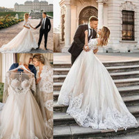 Wholesale romantic sexy short beach wedding dresses for sale - Group buy Lace Ball Gown Wedding Dress Sexy Tulle Appliques Long Sleeve Vestido De Noiva Romantic Champagne Wedding Gowns