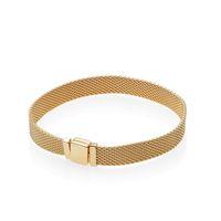 925 saat toptan satış-Erkekler 18 K Sarı Altın Saat kayışı El Zincir Refleksler Bilezik Set Orijinal Kutusu Pandora 925 Ayar Gümüş Bilezikler için Kadın Hediye