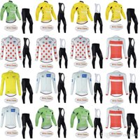 ensembles de collants de vélo achat en gros de-1214 Tour de France Vélo d'hiver en polaire thermique Jersey (BIB) Pantalons Ensembles serrés Hommes style Vtt Maillot Ciclismo Bike Wear D