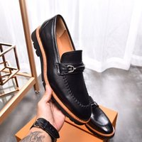 Wholesale high oxford shoes for sale - Group buy 39 EU SS High Quality spring autumn mens LUXURY Derby shoes black brown REAL LEATHER Buckle Strap dress brogue slip on Oxfords