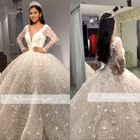 Wholesale v neck wedding dresses ruffle online - Arabic Luxury Major Beads Ball Gown Wedding Dresses V Neck Sequins Beadings Floral Appliques Long Sleeve Bridal Gowns robe de mariee