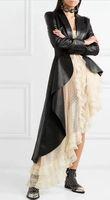 blazer chica de moda al por mayor-Traje de moda Up Blazer de PU Mujer Abrigo negro Primavera Otoño Bougie Girl Abrigos de manga larga Botton slim cruzado