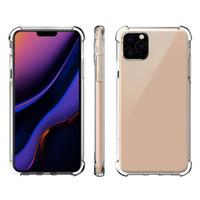 casos claros do iphone cobrir venda por atacado-Transparente telefone iPhone para o caso do 11 Pro MAX XS XR X 8 Plus Samsung Nota 10 S10 antidetonante TPU de protecção à prova de choque tampa de liberação de