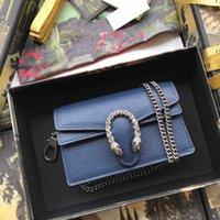 blaue handtasche goldene kette großhandel-Klassische goldene Kettenhandtasche aus Rindsleder, Damen Umhängetasche Cross Body, Dunkelblau für Fashion Lady