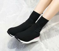 Wholesale shoes like boots resale online - Brand Name Louise Mens Ankle Flat Heel Winter Sports Boots Fly woven Casual Sock like booties Shoes Size