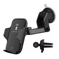 araba tutacağı şarj cihazı toptan satış-10 W Qi Kablosuz Araç Şarj Standı Otomatik Kızılötesi Indüksiyon Oto Montaj Tutucu iphone XR XS MAX Samsung S9 S8 için Not 9