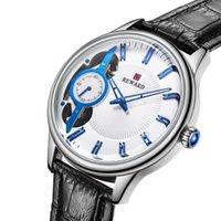 en iyi otomatik mekanik saatler toptan satış-Moda Tasarım Erkekler Yumuşak PU Deri Kayış Bilek İzle Erkekler Erkek Yuvarlak Şekil Otomatik Mekanik Saatler En Iyi Hediye