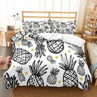 ensembles de couette animaux achat en gros de-Fanaijia ananas 3d Housse de couette avec Taie nouaison luxe Literie Reine Full Size Bed