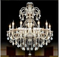 lâmpada de pérola negra venda por atacado-Frete Grátis Conhaque Cor Candelabro de Cristal Luminária Luminária Luminária de Cristal de Cristal Luminária Lâmpada Escada Longa Lustre
