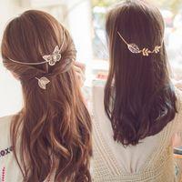 pinza de pelo mariposa oro al por mayor-Oro Rose-Gold Metal Leaf Butterfly Hairgrip Hair Chain Jewelry Wedding Hairpins Accesorios Clip para el cabello para la novia Mujeres Diadema