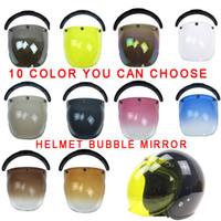 Wholesale flip up visor for sale - Group buy Universal Flip up Lens helmet Bubble shield Visor Face motorcycle helmet visor color available vintage windshield shie