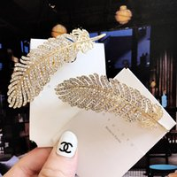 Wholesale indian feathers clip for sale - Group buy Europe Fashion Jewelry Women s Hair Clip Hairpin Rhinstones Feather Clip Hairpin Barrette Lady Hair Accessory S726