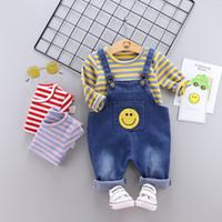 Wholesale boys suspender t shirts resale online - 2019 Autumn Baby Boys Clothes Set Kids Stripe T shirt Suspender Jeans Boy Set Children Outfits