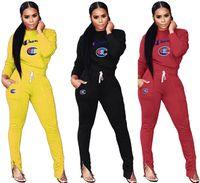 sıcak satmak tozlukları toptan satış-Kadınlar Tasarımcı Eşofman Hoodies + Tozluk Iki Parçalı Setleri Eşofman Pantolon Ince Pantolon Kıyafetler Güz Kış SıCAK Satış DHL 1104