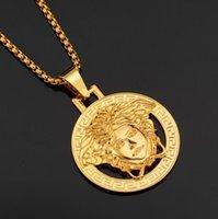 Wholesale hiphop diamond pendant necklace for sale - Group buy Famous Brand Designer Medusa Pendant Necklaces For Men Women Luxury Hiphop Jewelry Hip Hop Style Party Accessories Gifts