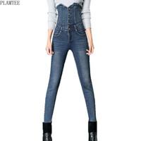 größe 26 frauen skinny jeans großhandel-Plamtee Hohe Taille Einreiher Design Jeans Für Frauen Große Größe 26-34 Stretch Dünne Bleistifthosen 3 Farben Pantalon Femme Y190430