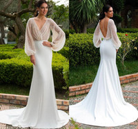 Wholesale vinatge wedding dresses for sale - Group buy 2020 Elegant Poet Long Sleeves Mermaid Wedding Dresses Vinatge V Neck Backless Beach Boho Bohemian Plus Size Bridal Gown